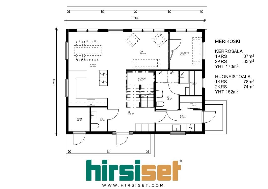 Hirsiset Oulujoki-sarja Merikoski 170/152