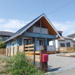 Hirsiset sininen hirsitalo Japanissa